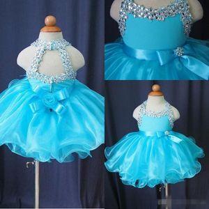 Glitz Cupcake robes Pageant pour les petites filles bébé perlé Organza enfants mignons courtes robes de bal infantile bleu clair cristal anniversaire fête jupe