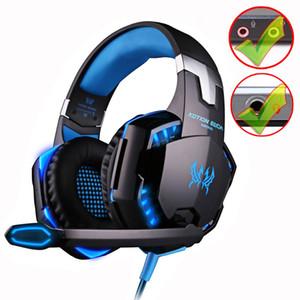 KOTION HER G9000 Gaming Headset derin Bas Stereo Bilgisayar Oyun Kulaklık mikrofon LED Işık PC ile profesyonel Gamer