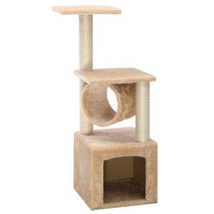 "Deluxe 36"" Cat Tree Condo Furniture Jouer Toy Poster Scratch Pet Kitten Maison Beige"
