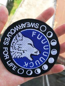 Diese Big Badass Patch Fluch auf dem Mond schwören Wölfe für das Leben 3,5 x 3,5 bestickt Eisen auf Twill Stickerei Patch