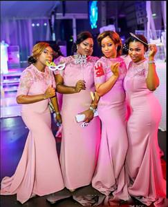 Junior Country Pink Günstige Plus Size Brautjungfernkleider Lange Crew Kurzarm Spitze Plus Size Party Prom Dresses