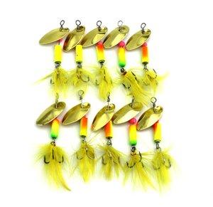 10 Unids Nueva Cuchara de Metal Spinnerbait Señuelos de Pesca Con Ganchos de Plumas Amarillas Wobbler Sequins Baits 5.5CM-3.7G