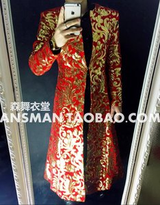 Wholesale-2016 New style Totem embroidery long umbrella coat costumes Men singers DJ stage performance costumes prom party outwear !