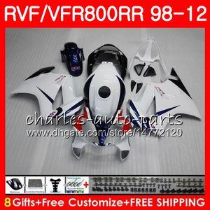 VFR800 Für HONDA Interceptor VFR800RR 98 99 weiß schwarz 00 01 02 03 04 12 90HM10 VFR 800 RR 1998 1999 2000 2001 2002 2003 2004 2012 Verkleidung