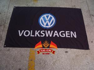 100% poliestere 90 150cm *, la bandiera nera volkswagen squadra corse, volkswagen striscione nero, stampa digitale