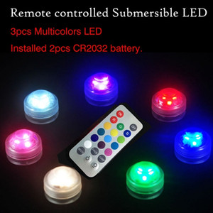 10Pcs 3leds Pcs Wedding Decoration Remote Control Waterproof Submersible Led Party Tea Mini Light With Battery For Party