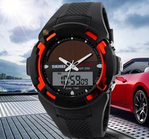 Wholesale Men Multifunction Solar Power Dual time Sport Wrist Watch 5 ATM PU Strap Watches 1056