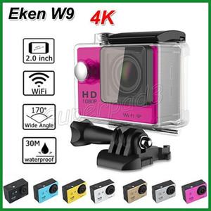 """Eken w9 esportes câmera 4 k wi-fi câmera de ação de vídeo à prova d 'água câmeras 170 ° lente mini 2 """"lcd esporte camera car dvr 5 pcs dhl frete grátis"""
