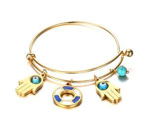 Turquoise Hamsa Evil Eye Hand Of Fatima Wire Bangle Bracelet