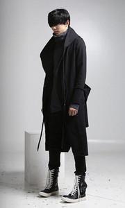 جديد أزياء طويلة خندق معطف الرجال الهيب هوب الأسود معطف طويل هوديي سترة رجل عارضة الصوف معطف مقنعين manteau أوم كابوتو