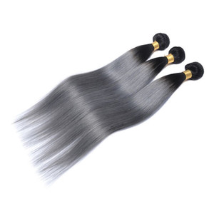 Ombre 브라질 머리카락 인간의 머리카락 번들 두 톤 Wefts 페루 말레이시아 인도 몽골어 버진 레미 헤어 확장 도매