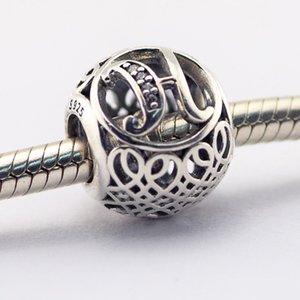 Vintage H Clear CZ 08 100% 925 cuentas de plata esterlina Fit Pandora Charms pulsera auténtica joyería de moda DIY