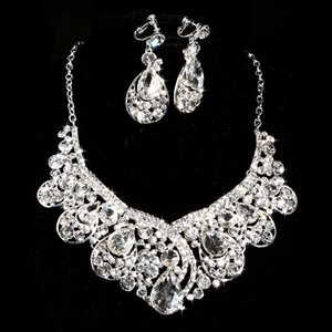 Marka Tasarım Kristal Gelin Takı seti 925 gümüş kaplama kolye elmas küpe gelin Nedime kadınlar için Düğün takı setleri