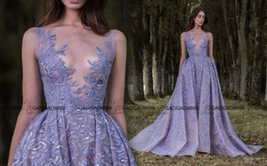 Lavender Illusion Wedding Dress with Plunging Neckline by Paolo Sebastian 2019 Over Skirts Amazing Shiny Detail Wedding Dress Plus Size
