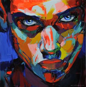 Dipinto a mano Palette knife painting portrait Coltello da tavolo Francoise Nielly Man Face Abstract Olio su tela Impasto figura su tela Nuovo