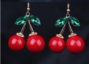 Frozen Cherry Dangle pendientes Lovely Red Fruit Ear Stud Crystal Rhinestone Moda encanto pendientes 12 pares / lote E85