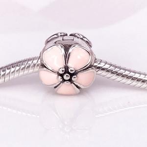 La fleur de cerisier en argent sterling 925 authentique, les clips en émail rose conviennent au bracelet DIY Pandora 791041EN40
