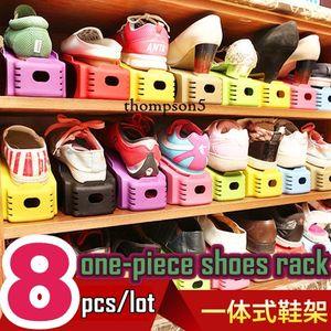 8 unids / lote ABS de almacenamiento en casa pieza cónica tridimensional de suspensión de zapatos de doble capa simple de dos pisos de plástico DIY de color zapatos de almacenamiento de rack