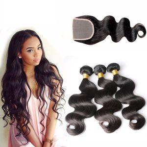 Brasiliana Body Wave Capelli Bundles non trasformati umani tesse capelli con chiusura colore nero naturale può essere tinto Capelli ossigenati estensioni