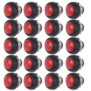 Atacado-20Pcs Red Mini Rodada Interruptor 12mm botão de pressão momentânea impermeável