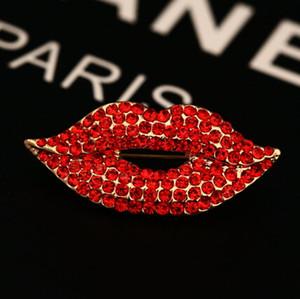 석 그랬 섹시한 빨간 입술 여성 결혼 파티 보석 액세서리 브로치 버클 18K 금 패션 브랜드 스카프 클립 장미