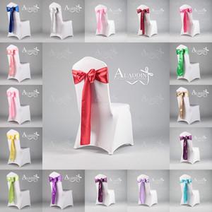 Bellissimi accessori da sposa per fiocchi di satinato per sedie 22 colori lotto sedia copertura fianchi decorazioni di nozze in due taglie