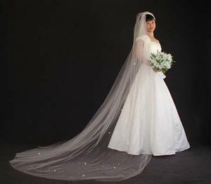 Nouveau Meilleures ventes Luxury Real image cathédrale de mariée Veils Une couche Longueur Veil avec Warovski strass cristal Tulle mariage Veils