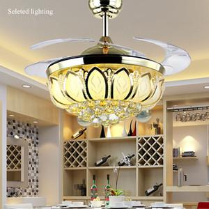 42 pouces Plafond Ventilateur Cristal Lustre Lotus Plafond Lumière Variable Lumière Couleurs Supprimer Contrôle Ventilateurs de Plafond Lumière Salon