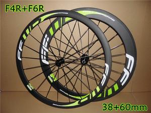Ücretsiz kargo FFWD F4R + F6R 38 + 60mm derinlik 23mm genişlik tekerlek tam karbon yol bisikleti jantlar ile Novatec A271 hub 700C Kattığı tekerlek