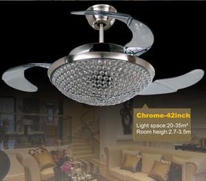 42 inç Modern Tavan Hayranları Işıkları 220 V 110 V Kaldır Control Görünmez Fan Tavan Hayranları Kristal Aydınlatma ile
