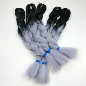 선염 kanekalon 합성 점보 브레이드 헤어 두 톤 선염 점보 꼬기 머리 저렴한 배송! (1 팩 블랙 + 그레이)