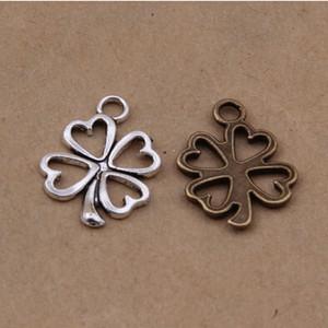 1000 pcs Four Leaf Trèfle charmes pendentif 16x12 mm antique argent et bronze couleurs livraison gratuite