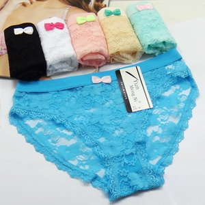 Envío gratis 5 unids / lote Calado de encaje transparente sexy ladies underwear briefs sexy Nuevas mujeres de algodón bragas Niña Escritos 89067