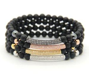 2016 neue Mode Männer Frauen Schmuck Großhandel 6mm Natürliche Matt Achat CZ Micro inlay zirkon perlen Rohr Perlen Stretch Armbänder