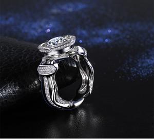Victoria Wieck joyería de cóctel hecha a mano 925 de plata esterlina Topacio diamante simulado piedras preciosas de boda hombres anillos para el regalo del amante Size8-13
