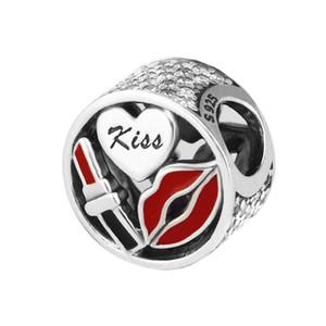 Stile Openwork Glamour bacio fascini misura branelli donne braccialetto europeo dello smalto rosso di cristallo di perline fai da te per monili che fanno accessori