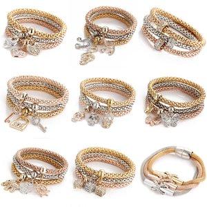 Mode Shambhala Bracelet Bracelets Élastique Stretch Bracelet Cristal Animla Coeur Note Clé Charms Bracelet Popcorn Femmes Bijoux 1set / lot
