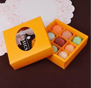 الحجم: 14 * 14 * 4.5cm كرافت ورقة الشوكولاته معكرون مربع عقد 9 pcs.cracker Box packaging.200piece \ lot