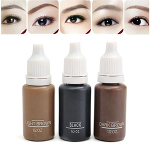 Wholesale- 3Pcs lot Tattoo Ink 3 Different Colors For Permanent Makeup Tattooing Eyebrow Eyeliner Lip 15ml Cosmetic Manual Paint Pigments