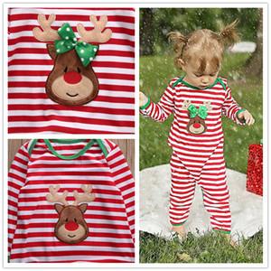 Listrado De Natal Família Pijamas Set cervos conjuntos impressos Crianças macacão de moda bebê meninos meninas Nightwear Macacão De Algodão verde vermelho outfits
