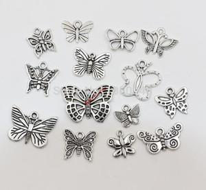 140 stücke Gemischt Tibetischen Silber Ton Handwerk Schmetterling Charme Mode Anhänger Schmuck Diy Schmuck Makings14styles schmuck machen