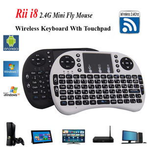 Rii I8 teclado inglés o ruso inalámbrico TouchTouchpad 2.4G Multi-Media Fly Air Mouse Control remoto para PC / Andriod TV Box / Xbox360