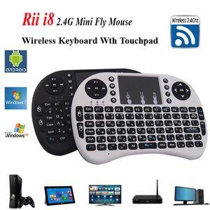 Rii I8 Wireless tastiera inglese o russaTouchpad 2.4G Multi-Media Fly Air Mouse Telecomando per PC / Andriod TV Box / Xbox360