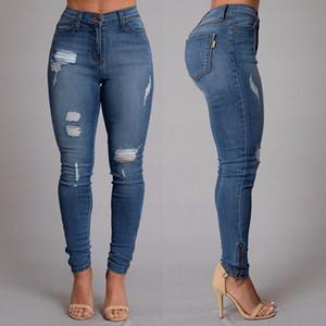 Bayan pantolon için kot pantolon sonbahar moda jean ripped jean tam boy yüksek bel kalem kot pantolon fermuar fly skinny nedensel