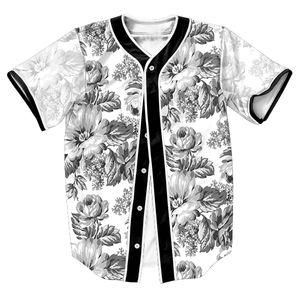 الجملة العظمة الزهور جيرسي نمط الصيف مع أزرار 3D طباعة القمصان الشارع الشهير للرجال الرياضة قمم أعلى المحملات البيسبول قميص الأزياء