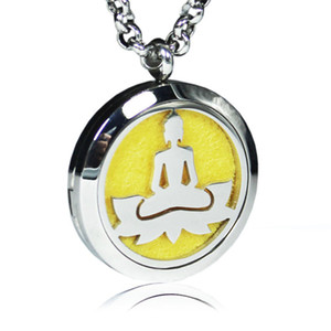 Aromatherapy Essential Oil Diffuser Necklace Bodhi Lotus 316L Stainless Steel Locket pendant with Ajustable Chain and 6 Refill Pads