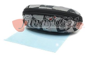 Brand new hard case zipper gancho óculos de sol Caixa de pano de vidro de sol preto metal plástico esportes sol óculos caixinha + pano frete grátis