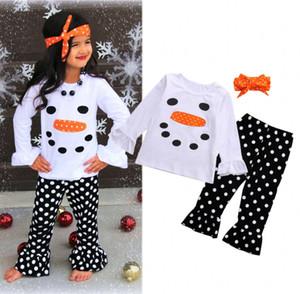 Baby Christmas Abbigliamento Set Autunno Boutique Girl Vestiti Xmas Pupazzo di neve Bambini Suit 3PCS Camicia + pantaloni + fascia Baby toddler Set Infantile