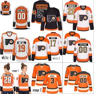 레이디 필라델피아 플라이어 저지 11 Travis Konecny 17 Wayne Simmonds 28 Claude Giroux 53 Shayne Gostisbehere 93 Jakub Voracek Hockey Jersey