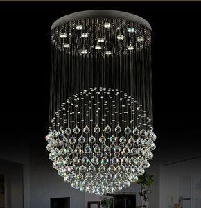 Moderne Treppe LED Kristall Kronleuchter Leuchte für Hotel Lobby Foyer Ball Form Regen Drop Anhänger